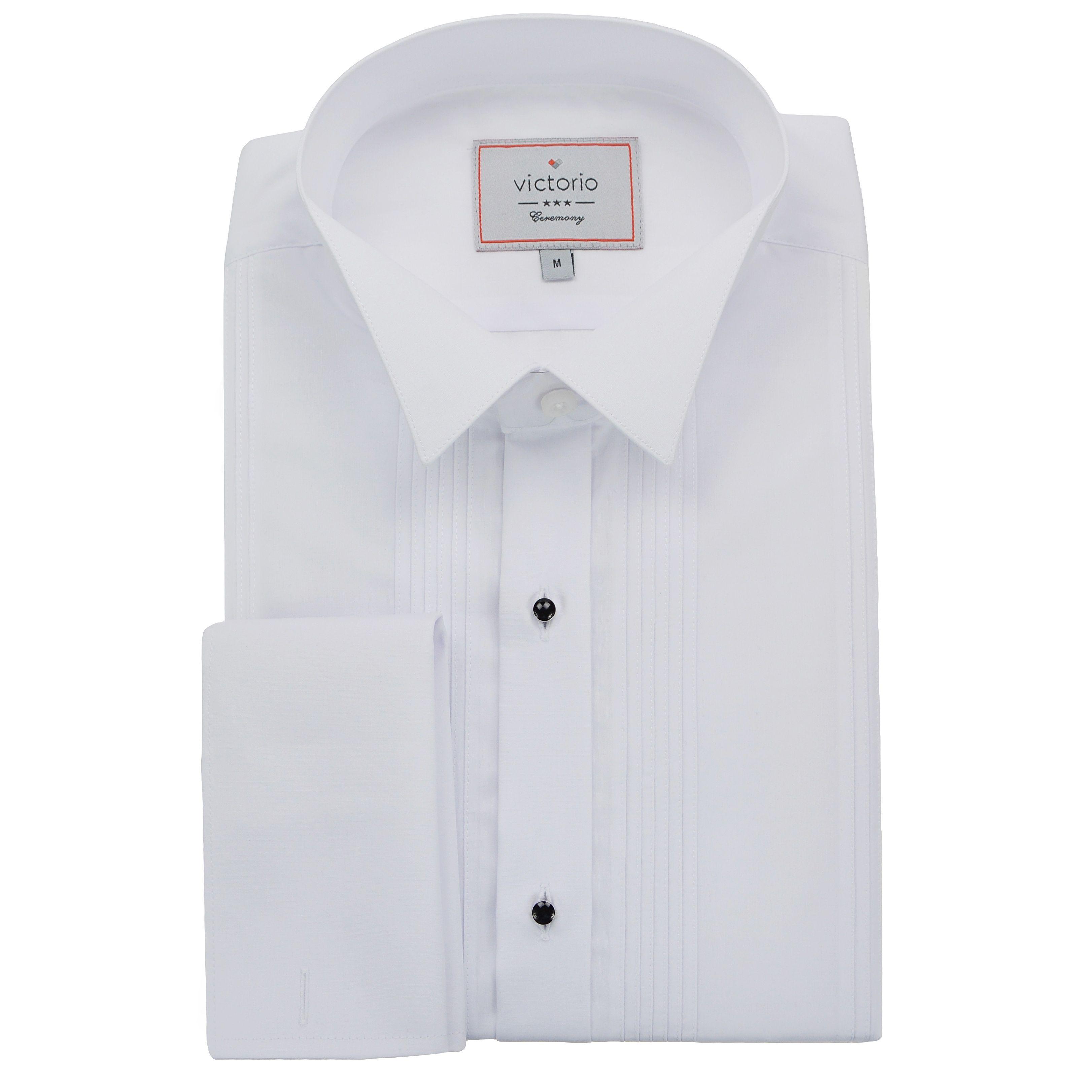 2a9a8201fd2d Biela pánska košeľa s čiernymi gombíkmi a jemnými pásikmi