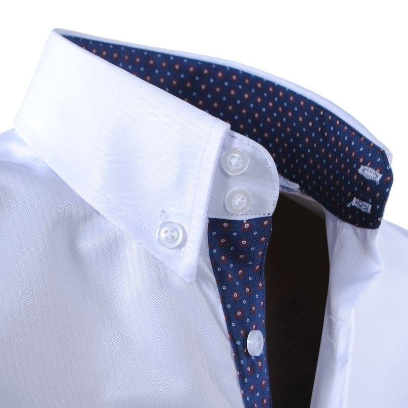 a7d4164d3b15 Biela pánska košeľa s jemnými pásikmi