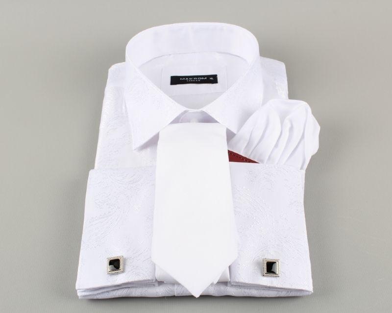 7a4a42b9bc4a Biela pánska košeľa s lesklým ornamentom