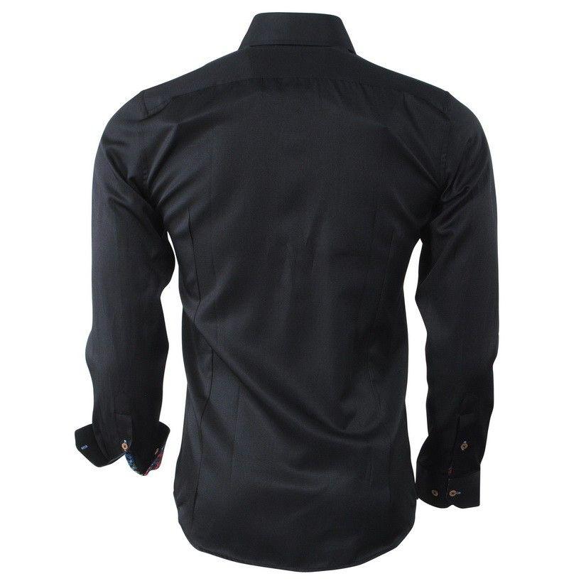 9f951507f8ae Čierna pánska košeľa s kvetovaným motívom