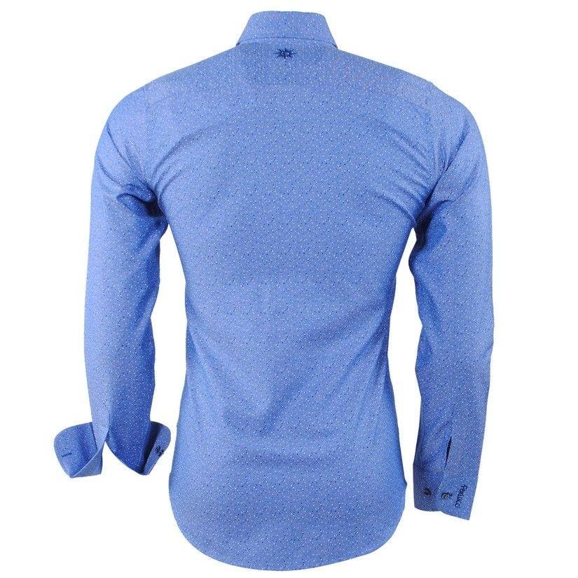 da515584db24 Modrá pánska košeľa s bodkovaným vzorom