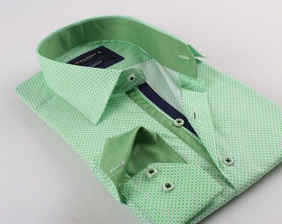6693bfe31d46 Zelená pánska košeľa s jemným vzorom